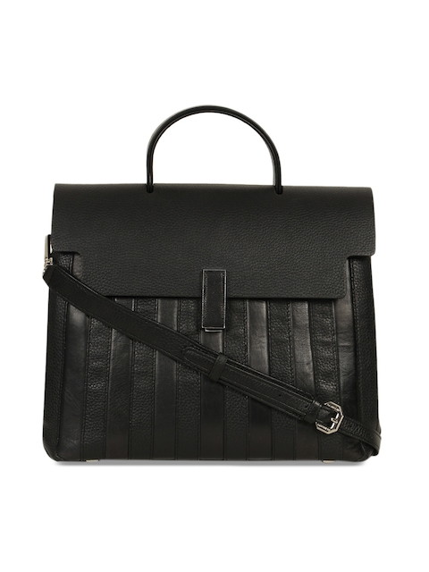 Da Milano Black Solid Leather Handheld Bag