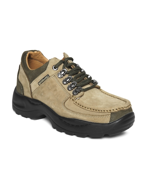 Woodland Men Beige Nubuck Leather Trekking Shoes
