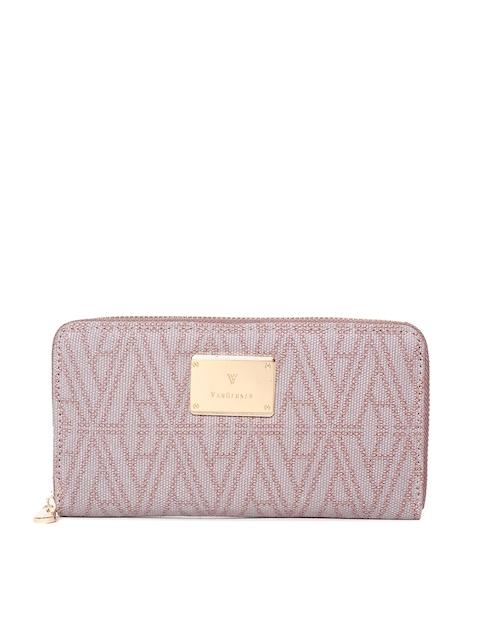 Van Heusen Woman Women Pink Self Design Zip Around Wallet