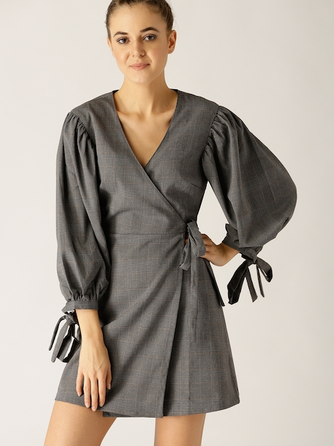 United Colors of Benetton Women Grey Checked Wrap Dress