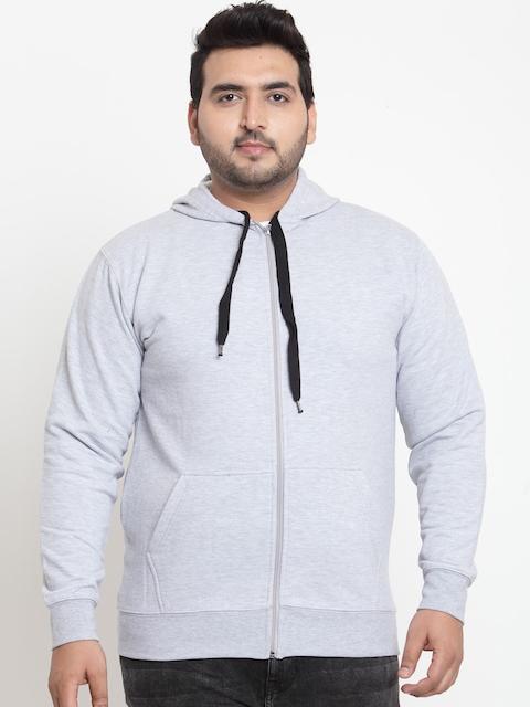 SCOTT INTERNATIONAL Men Grey Self Design Hooded Sweatshirt