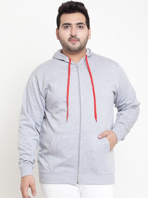 SCOTT INTERNATIONAL Men Grey Solid Hooded Sweatshirt