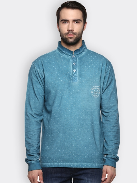 AXMANN Men Teal Solid Sweatshirt