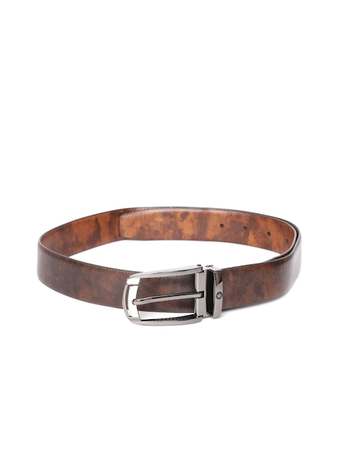 Louis Philippe Men Brown Leather Printed Belt