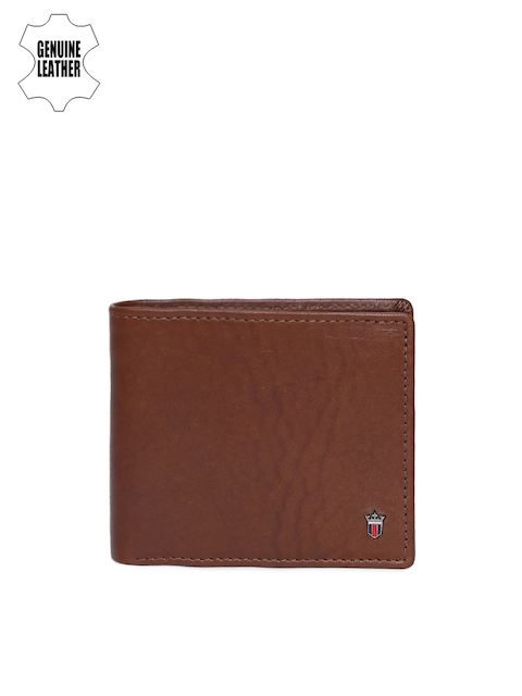 Louis Philippe Men Tan Solid Genuine Leather Two Fold Wallet