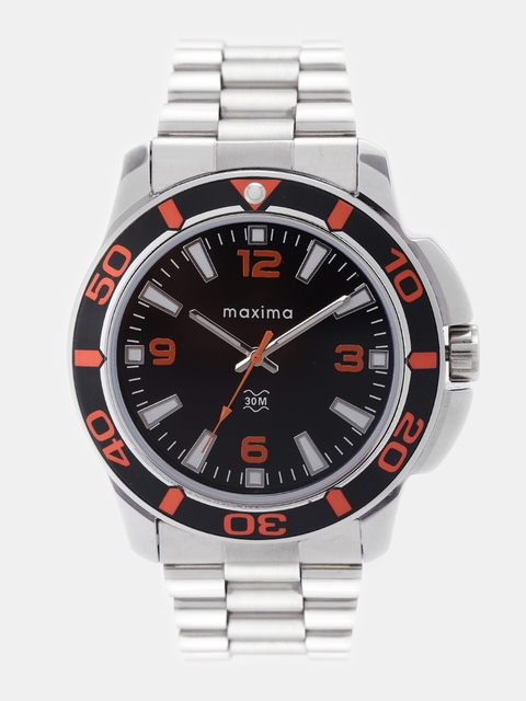 maxima Men Black Analogue Watch O-44920CMG