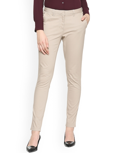 Allen Solly Woman Beige Slim Fit Solid Formal Trousers