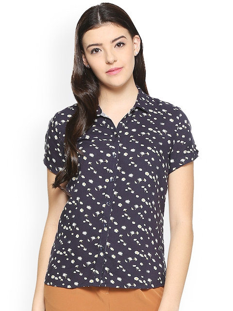 Allen Solly Woman Navy Blue Regular Fit Printed Casual Shirt