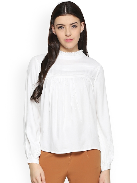 Allen Solly Woman White Solid A-Line Top