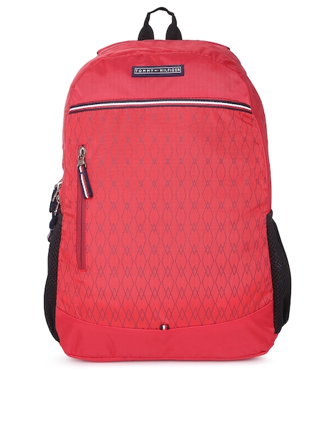 Tommy Hilfiger Unisex Red Geometric Backpack