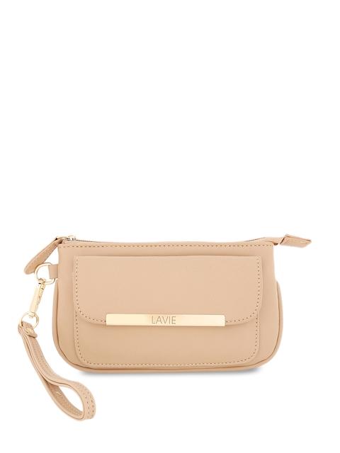 Lavie Women Beige Solid Zip Around Wallet
