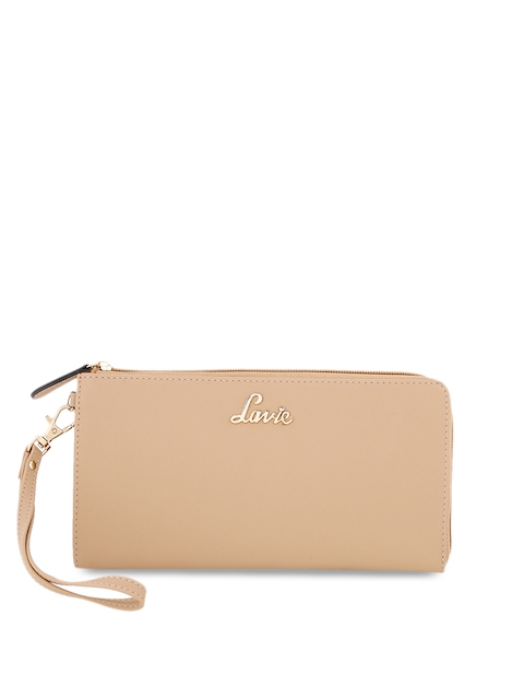 Lavie Women Beige Solid Zip Around Wallet