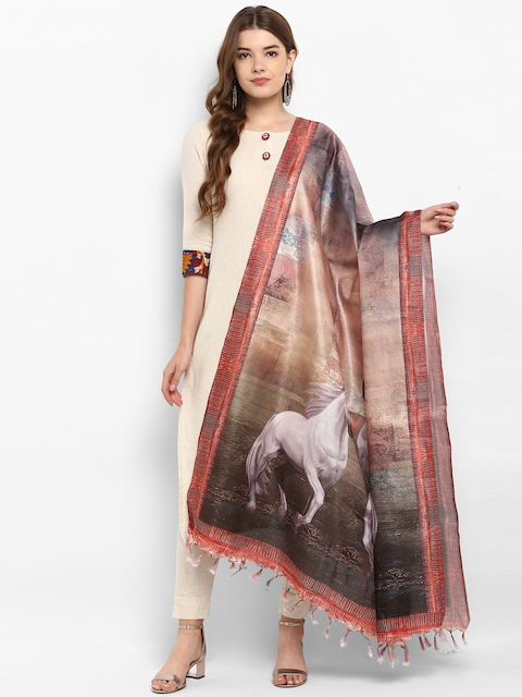 Saree mall Beige & Coral Printed Dupatta