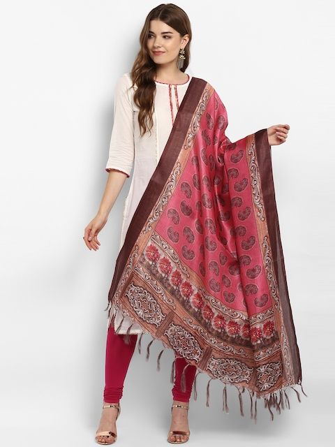 Saree mall Pink & Brown Floral Printed Dupatta