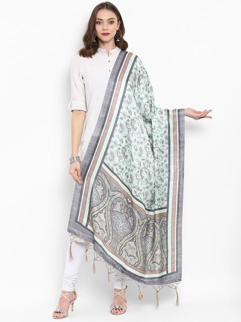 Saree mall Green & Grey Printed Dupatta