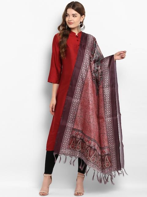 Saree mall Brown & Multicoloured Printed Dupatta