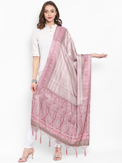 Saree mall Pink & White Printed Dupatta