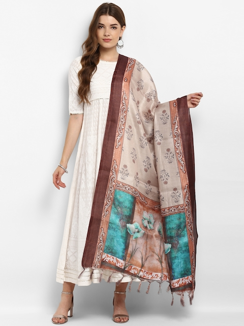 Saree mall Beige Printed Dupatta