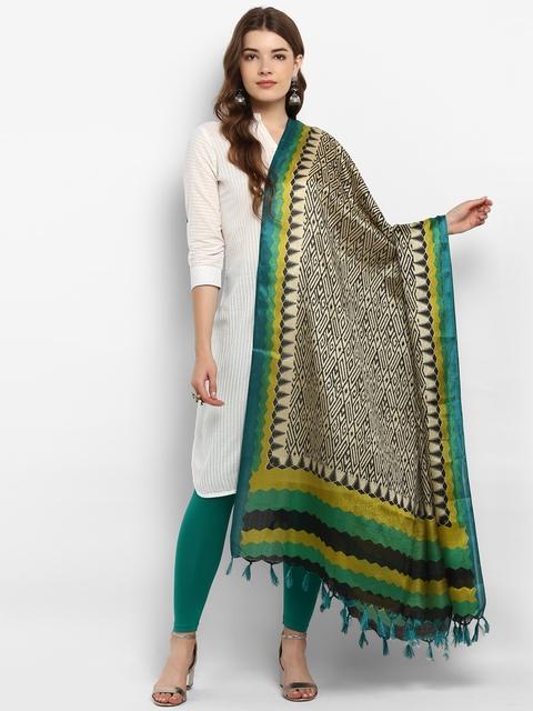 Saree mall Cream-Coloured & Green Printed Dupatta