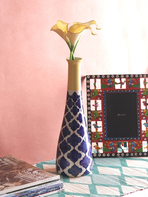 VarEesha Navy Blue & White Hand-Painted Moroccan Ceramic Vase