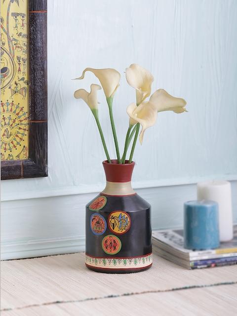 VarEesha Madhubani Work Terracotta Black Vase