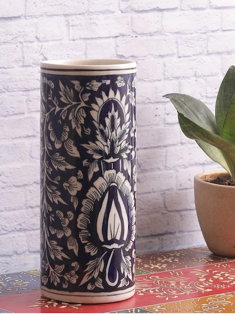 VarEesha Hand-Painted Blue Ceramic Mughal Vase