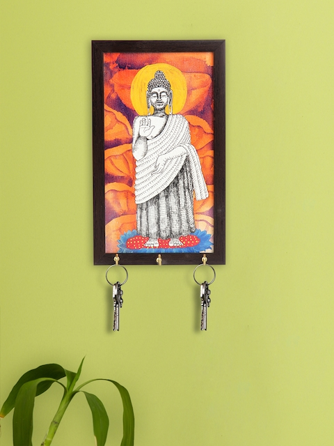 ExclusiveLane Orange & Brown Lord Buddha Canvas Handpainted Key Holder