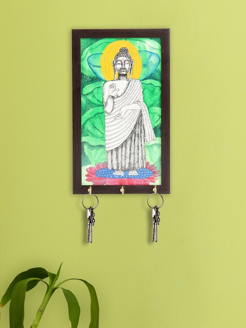 ExclusiveLane Green & Brown Lord Buddha Canvas Handpainted Key Holder