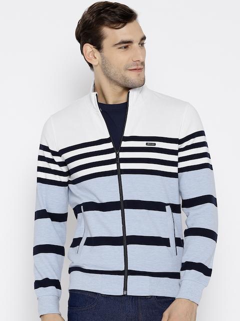 Monte Carlo Men White & Blue Striped Sweatshirt