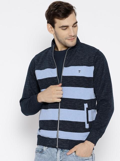 Monte Carlo Men Blue Striped Sweatshirt