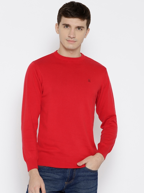 Monte Carlo Men Red Solid Sweater