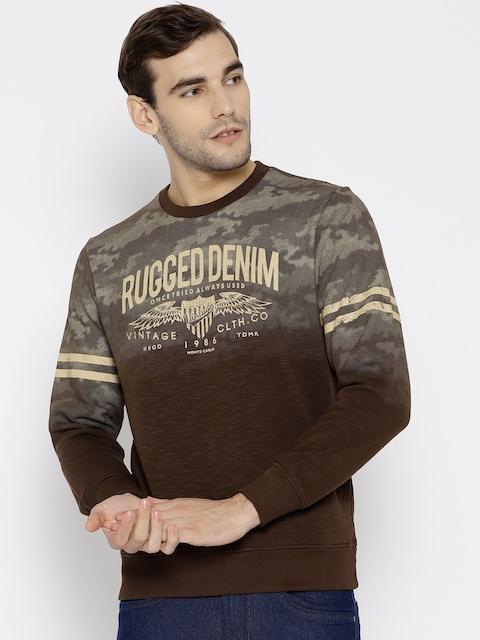 Monte Carlo Men Brown Printed Sweatshirt