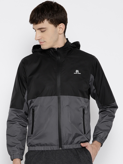 Monte Carlo Men Black & Grey Colourblocked Tailored Jacket