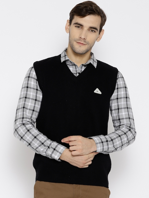 Monte Carlo Men Black Solid Sweater Vest