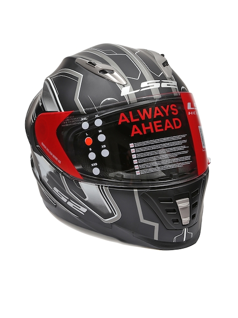 LS2 Men Black & Grey SPACE Full Face Helmet with Double Visor LSII302008