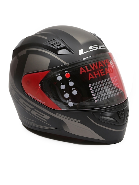 LS2 Men Black & Grey NIGHT BREAKER Printed Full Face Helmet