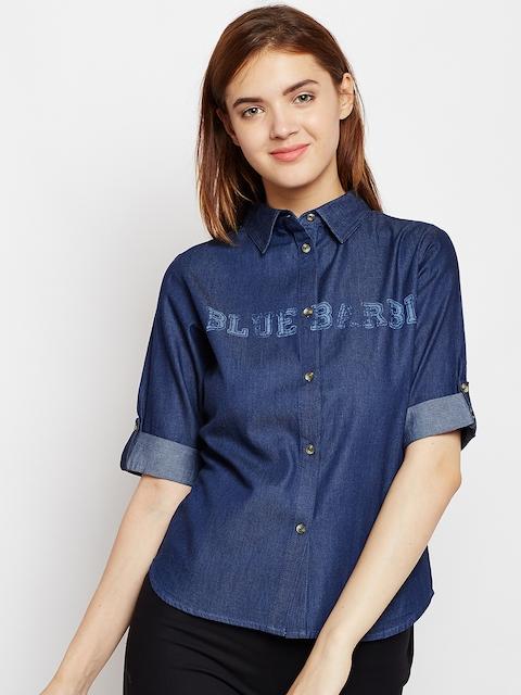 AASK Women Blue Comfort Regular Fit Printed Casual Shirt