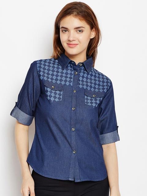 AASK Women Blue Printed Casual Shirt