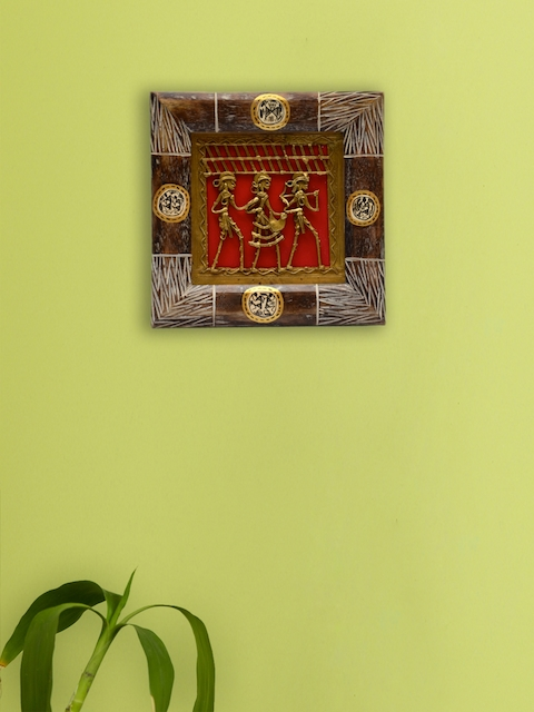 ExclusiveLane Brown Dhokra & Warli Handcrafted Wooden Wall Decor