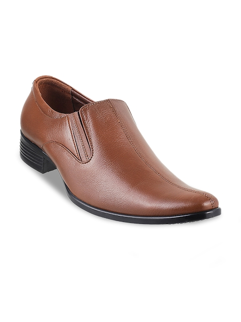 Mochi Men Tan Brown Formal Leather Slip-Ons