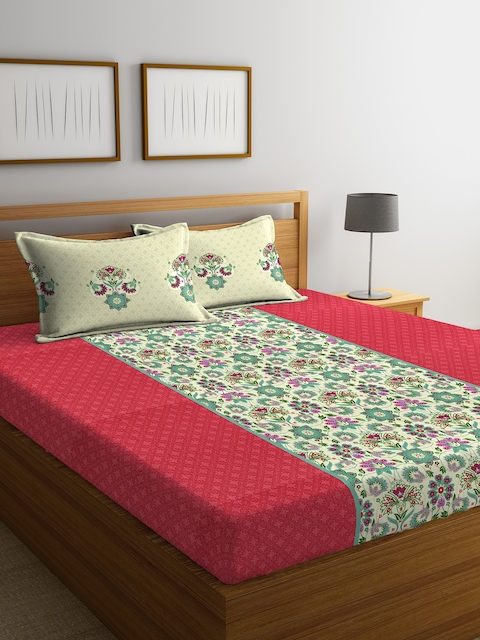 Portico New York Red & Sea Green Floral Flat 144 TC Cotton Double Bedsheet