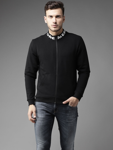 Flying Machine Men Black Solid Sweatshirt