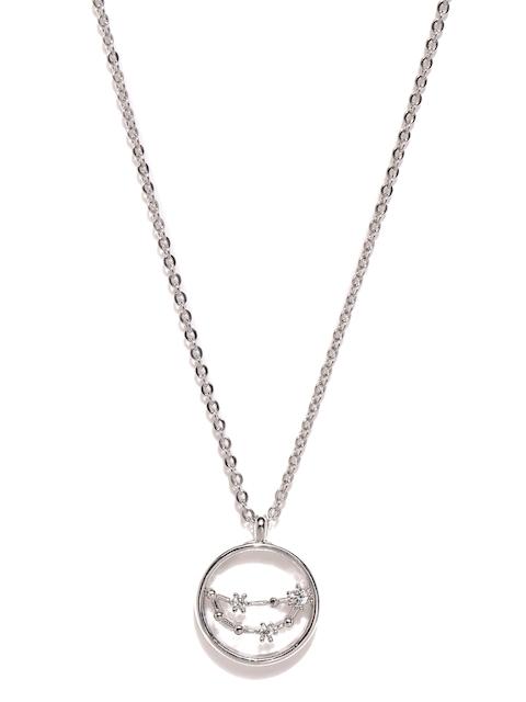 Accessorize Platinum-Plated Capricorn Cubic Zirconia Pendant with Chain