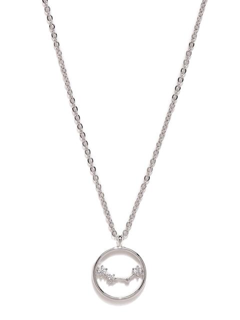 Accessorize Platinum-Plated Cubic Zirconia Aquarius Pendant with Chain