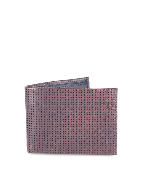 Van Heusen Men Maroon Self Design Two Fold Wallet