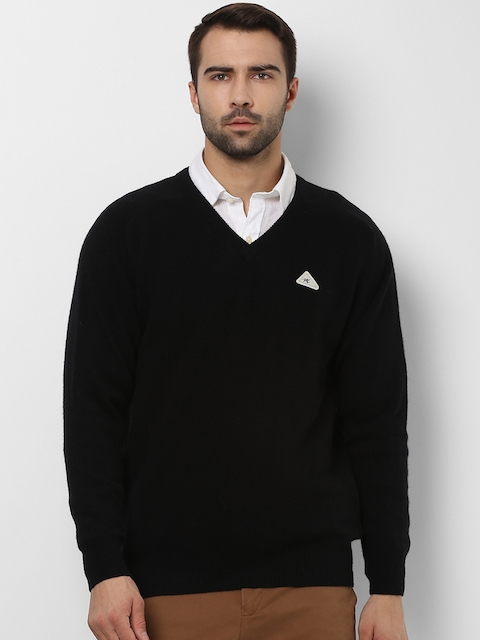 Monte Carlo Men Black Solid Wool Pullover