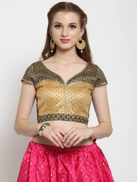 Castle Women Black & Golden-Coloured Embellished Brocade Saree Blouse