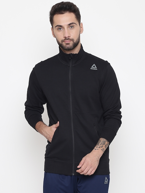 Reebok Men Black Solid Core Training Track Jacket