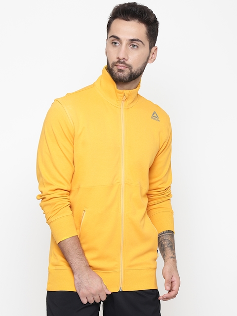 Reebok Men Yellow Solid Core Training Track Jacket