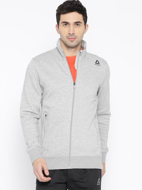 Reebok Men Grey Melange FON BAS Solid Track Jacket